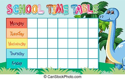 School time table with dinosaur