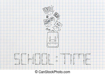 school time text in digital watch style with school backpack and stationery flying out of it