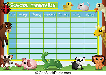 A vector illustration of school timetable design