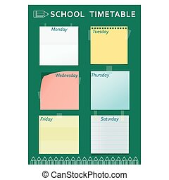 school timetable green pencil