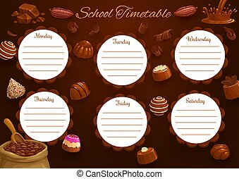 School timetable or schedule, education vector template with chocolate background. Student study plan, lesson chart of weekly planner of elementary school pupils with chocolate splashes, curl, candies