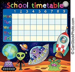 School timetable space fantasy theme - eps10 vector illustration.