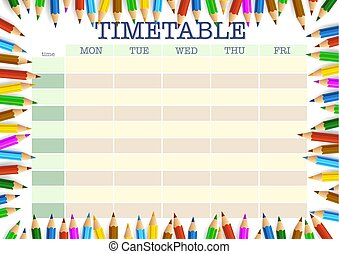 school timetable surrounded by colored pencils template
