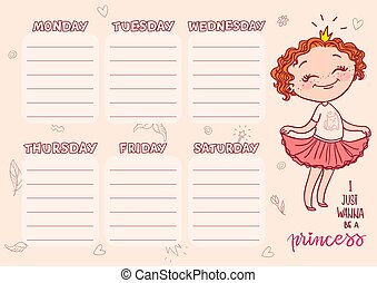 School timetable template for kids. Vector printable schedual with cartoon princess.
