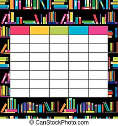 School timetable template with books for students and pupils
