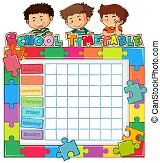 School timetable template with kids