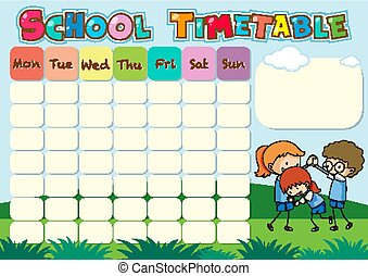 School timetable template with kids playing