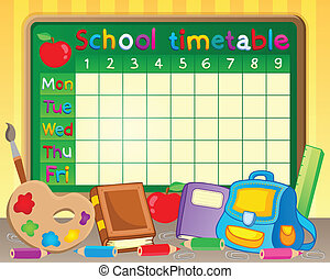 School timetable theme image 3 - eps10 vector illustration.