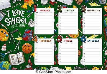 School timetable week schedule, classes supplies