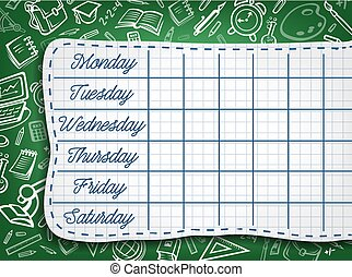 School timetable, weekly lesson schedule template