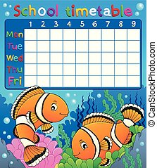 School timetable with clownfish theme - eps10 vector...