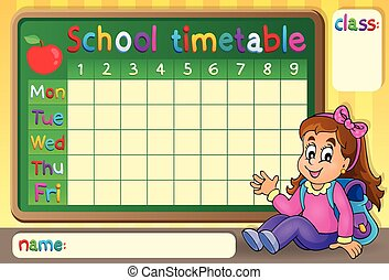 School timetable with happy girl