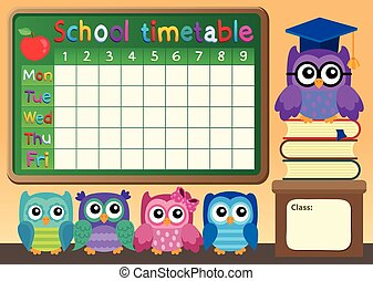 School timetable with owls - eps10 vector illustration.