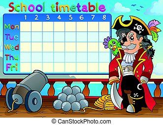School timetable with pirate on ship