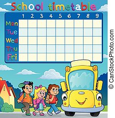 School timetable with pupils and bus - eps10 vector...