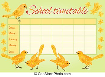School timetable with yellow birds and daffodil vector...