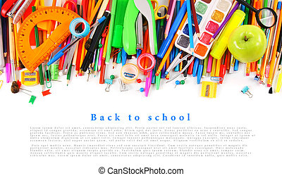 School tools and accessories on a white background. - School...