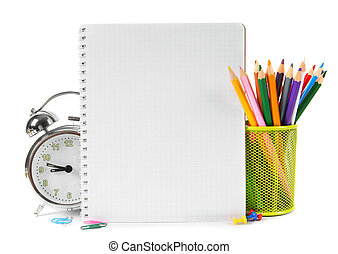 School tools and accessories on white background.