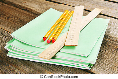 School tools and writing-books.