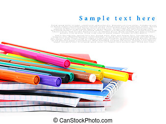School tools on a white background.