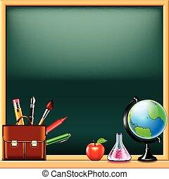 School tools on green blackboard background