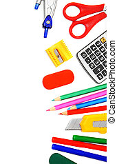 School tools on white background.