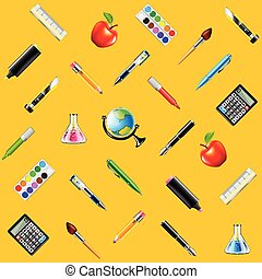 School tools on yellow background seamless vector