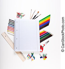 School tools over white background