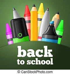 School tools - pen, pencil, highlighter, crayon