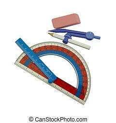 School Tools - Student's Geometry Set; Isolated, Path...