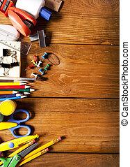 School equipment on wooden desk