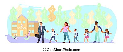 school, toonaangevend, vader, hun, moeder, kinderen