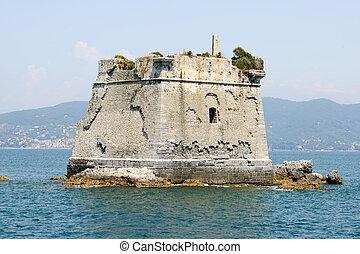 School tower at Palmaria island near Portovenere on cinque...