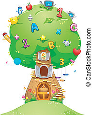 School Tree - Illustration of a Tree Loaded with School...