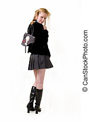 School Uniform - Full body of an attractive woman with hair ...
