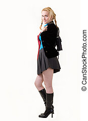 School Uniform - Full body of an attractive woman with hair...