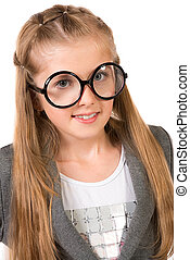 school uniform - Portrait of a beautiful ten years girl in...