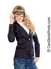 school uniform - Close-up portrait of a pretty teenager girl...