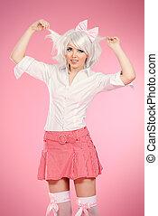 school uniform - Cute teen girl wearing white wig and school...