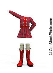 School uniform - 3d digitally rendered image of red plaid...