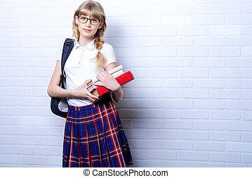 school uniform - Pretty teen girl wearing school uniform and...