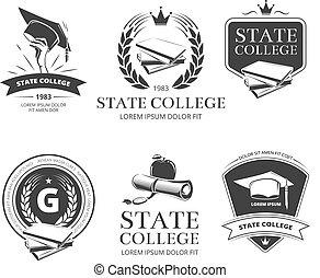 school, universiteit, etiketten, academie, vector, universiteit, emblems, kentekens