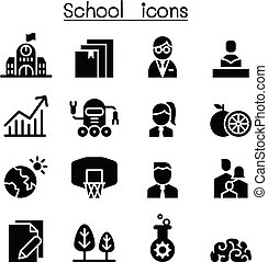 School, University, high school & Education icon set