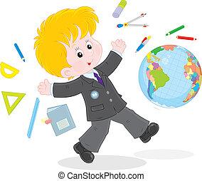 School vacation - Joyful schoolboy running after lessons on...