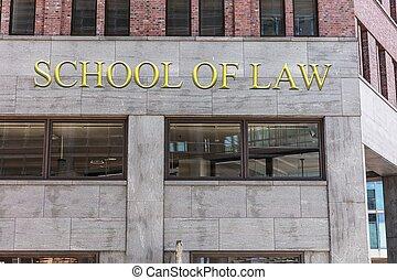 school, van, wet, meldingsbord, op, gebouw, in, stad