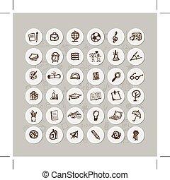 school, vastgesteld ontwerp, jouw, iconen