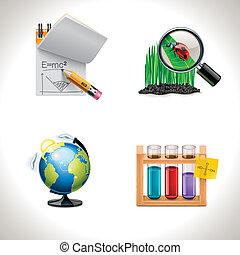 school, vector, 3, icons., deel