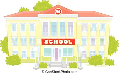 School - Vector illustration of a school building, on a ...