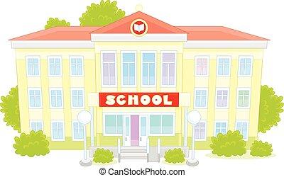 School - Vector illustration of a school building, on a...