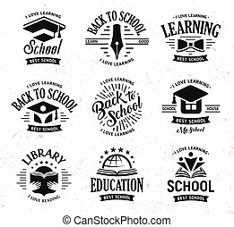 School vector logos set, monochrome vintage design education signs. Back to school, university, college, learning logo collection. Black and white emblems on white grunge background